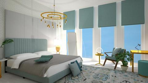 turquoise and gold - Bedroom - by _xandra_