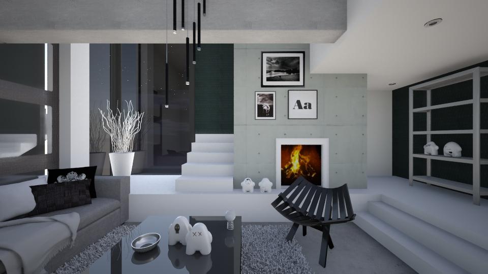 Black Penthouse - Modern - Living room - by KRdesign