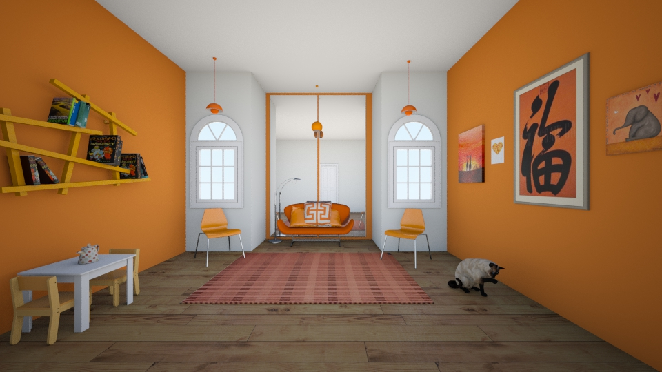 Orange Common Room - Living room  - by Sunny Bunny