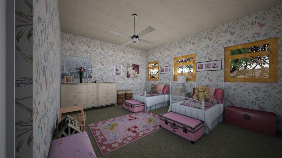 twin girl bedroom - Bedroom - by scourgethekid