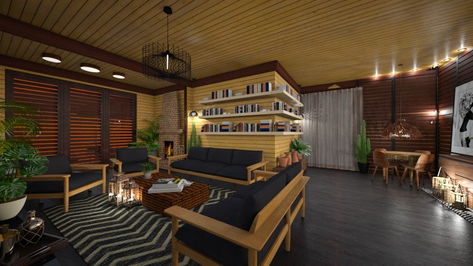 sala nova de madeira - Living room - by yyyyy