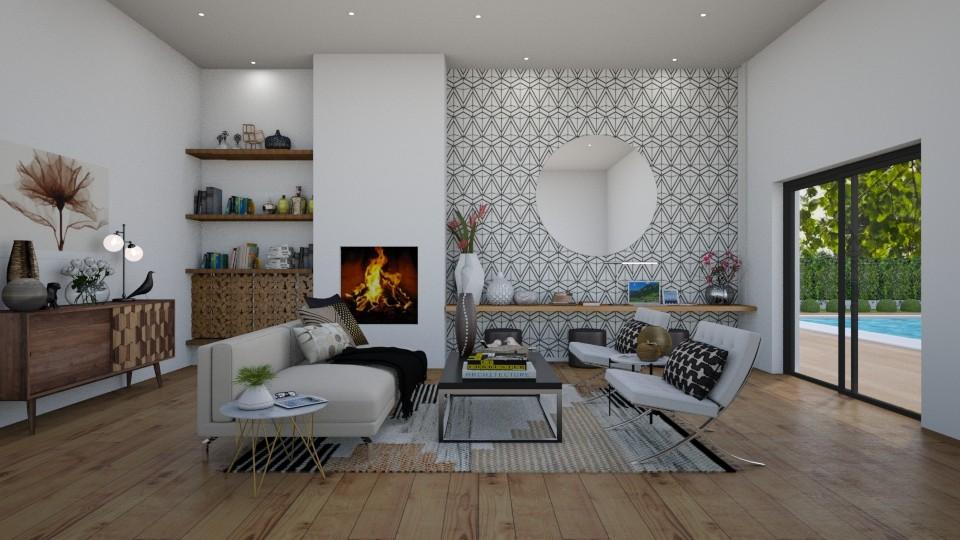 Los Altos Pool House - Living room - by erstudio