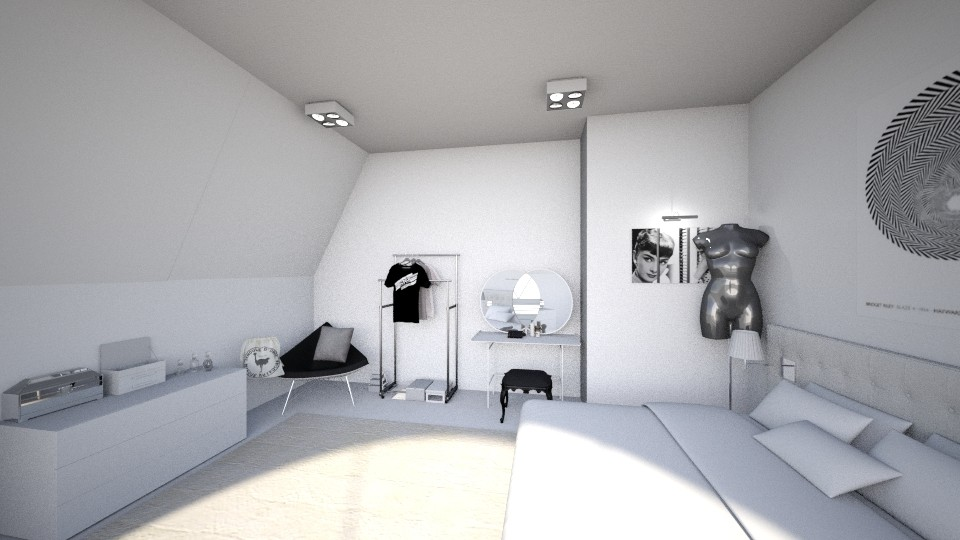 black and white bedroom - by Valerie Meiner