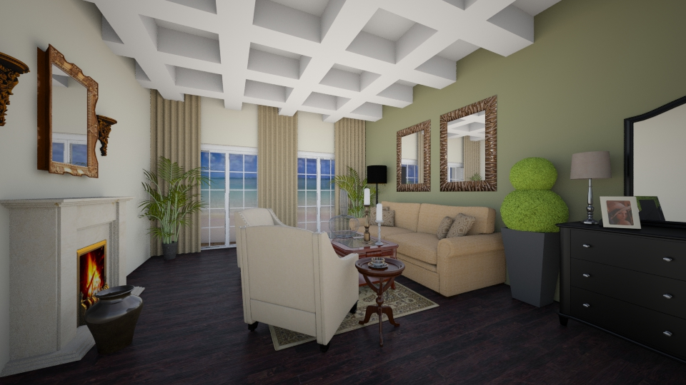 family room - by Interiors by Laura