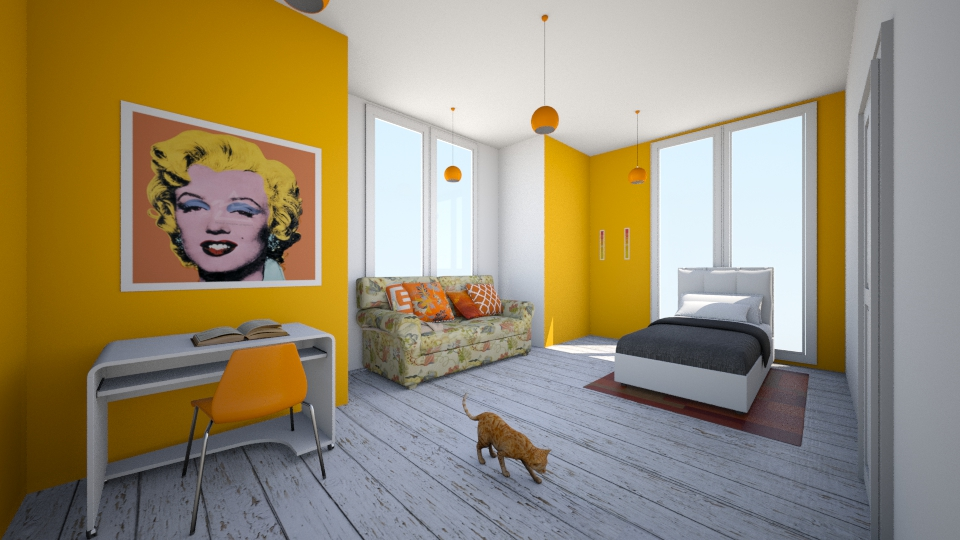 Orange Bedroom - Bedroom  - by Sunny Bunny