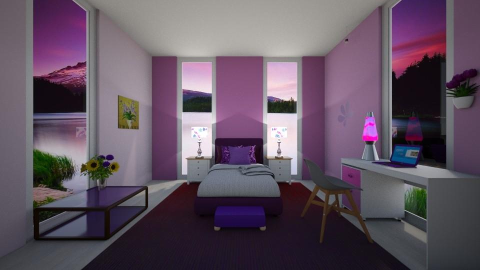 Pretty Purple Room - Feminine - Bedroom  - by Lisa Simpson