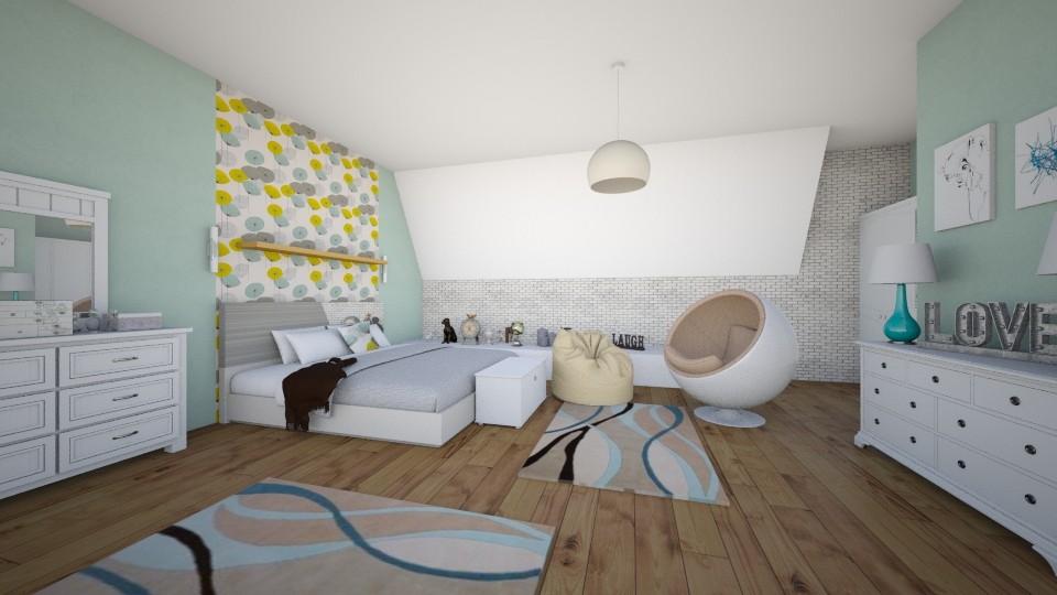 attic bedroom - Bedroom  - by Sanja Pipercic
