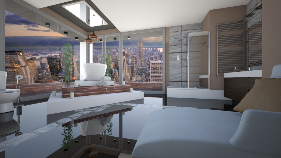 penthouse city bathroom - Bathroom  - by Aurora Boreas