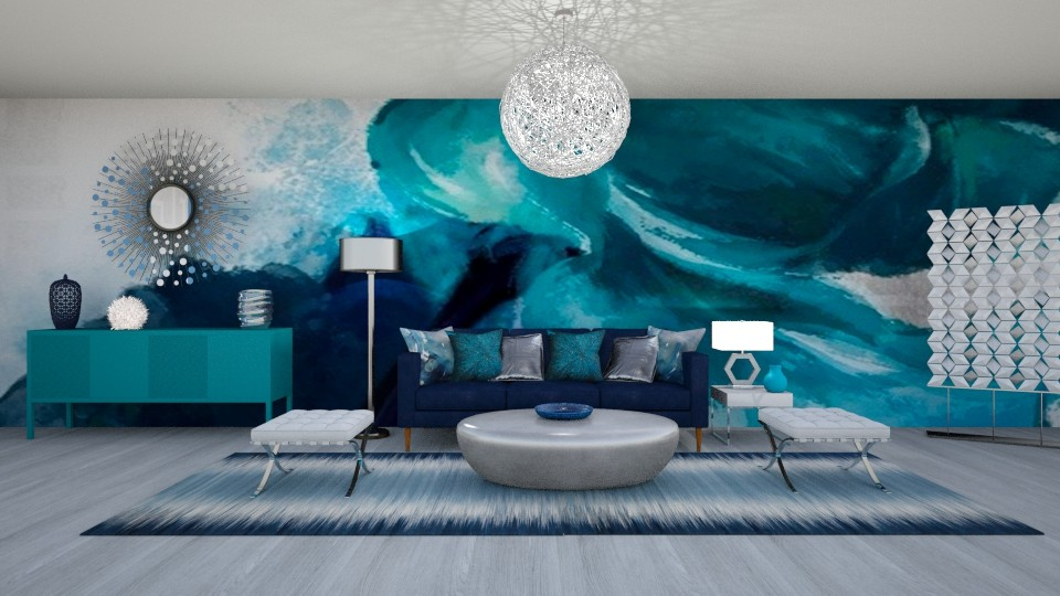 COOL BLUES - Glamour - Living room  - by RS Designs