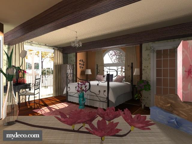 Floral pretty bedroom - Feminine - Bedroom  - by kirstynat