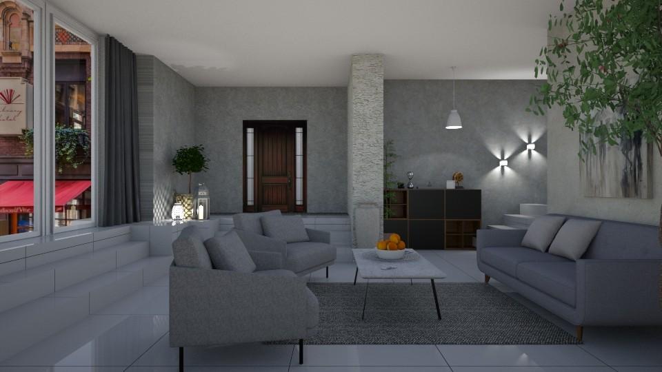 Grey living - Living room - by jarkaD