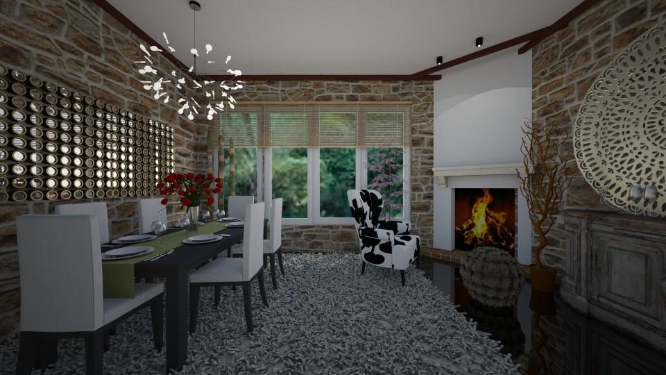 dining room com lareira - by Tininha oliveira