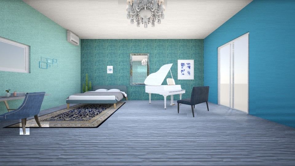Blue and white bedroom - Glamour - Bedroom - by gefenkl