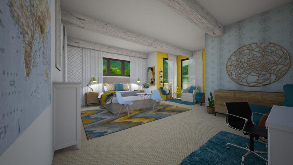 Blue Yellow Bed - Bedroom - by sjm2025ozark