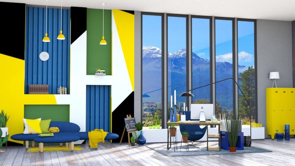 Office Blue_Green - Modern - Office - by Isaacarchitect