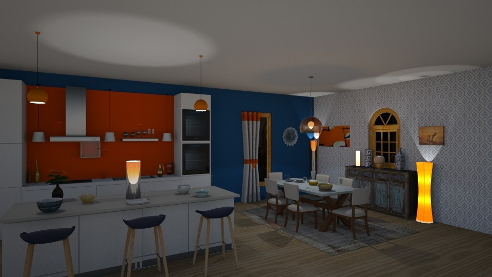 orange and blue - Kitchen  - by jdenae3