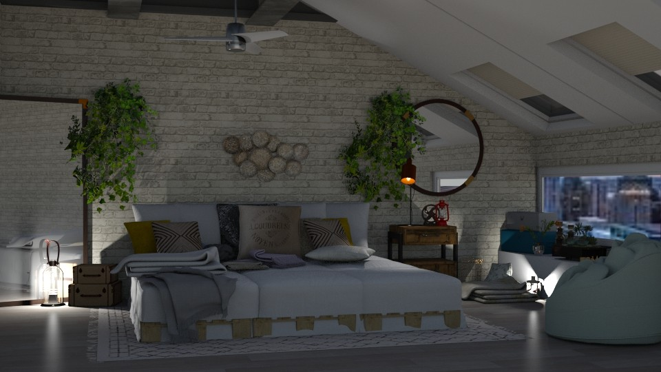 Attic Bedroom - Rustic - Bedroom  - by LeilaniD04