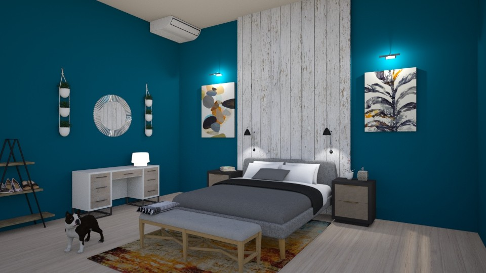 Blue bedroom - Bedroom - by alejavsantos