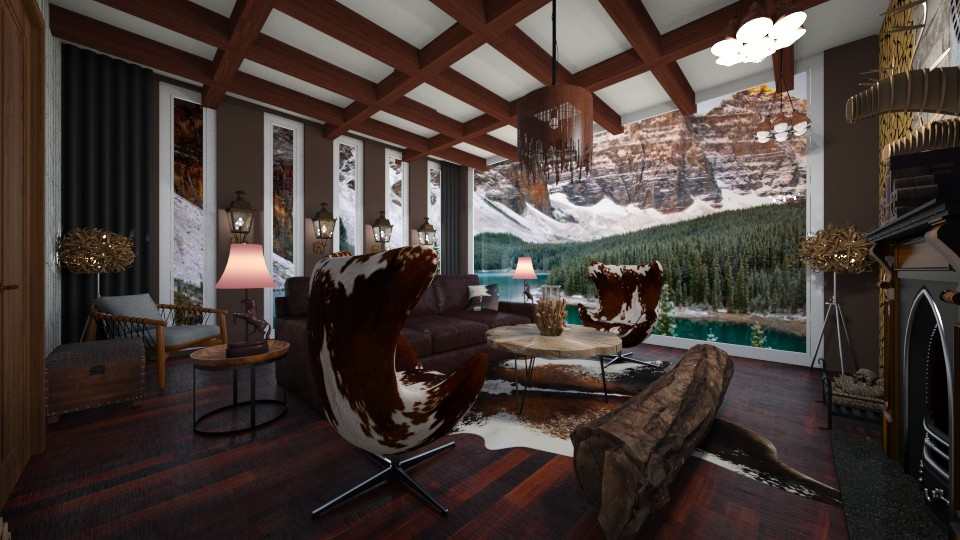 Cabin Living Room - by victoriasell