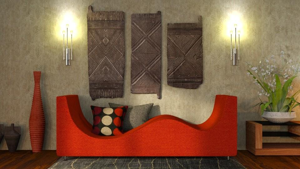 Orange wave sofa - by ZsuzsannaCs