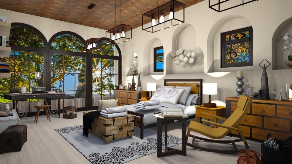 Warm Writer Corner - Bedroom - by JarkaK