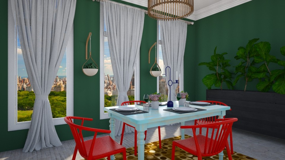 294 Blue and Red - Dining room - by Agata_ody