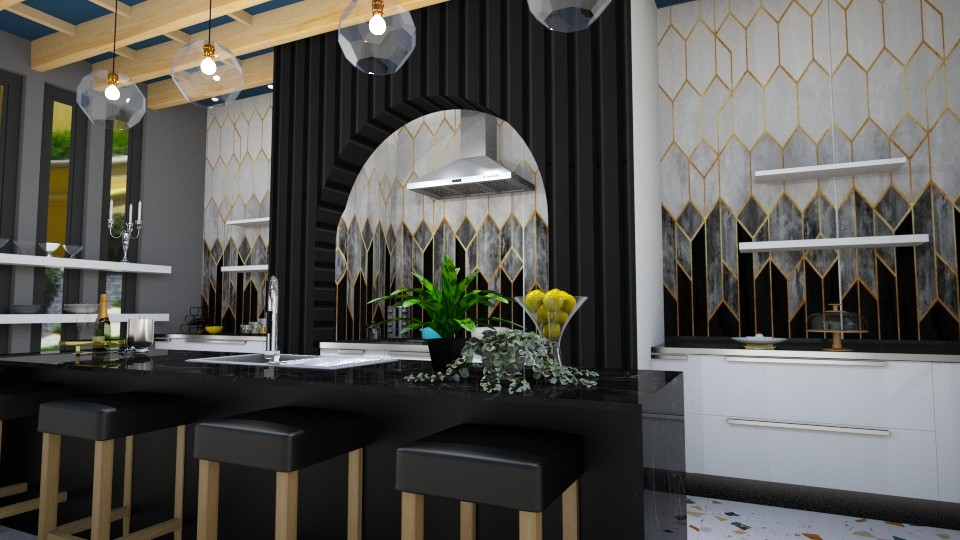 Black and gold kitchen - by Maryjo1965