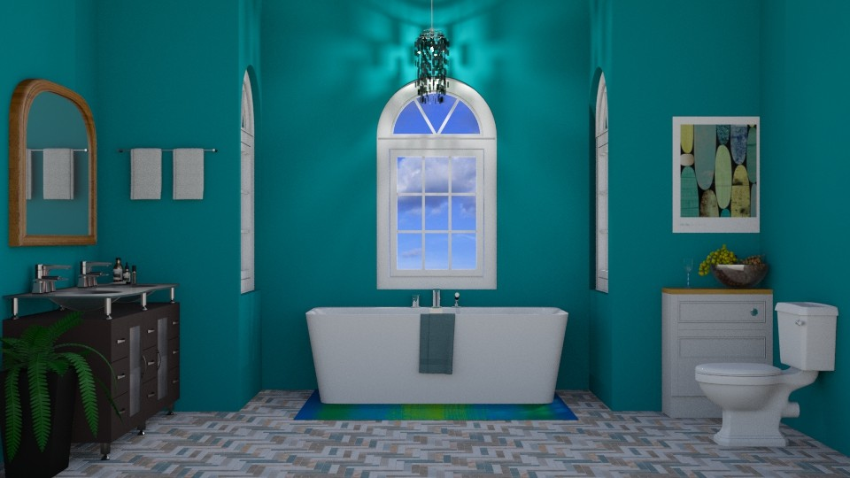 Turquoise and Metal bath - Bathroom  - by Silverstream