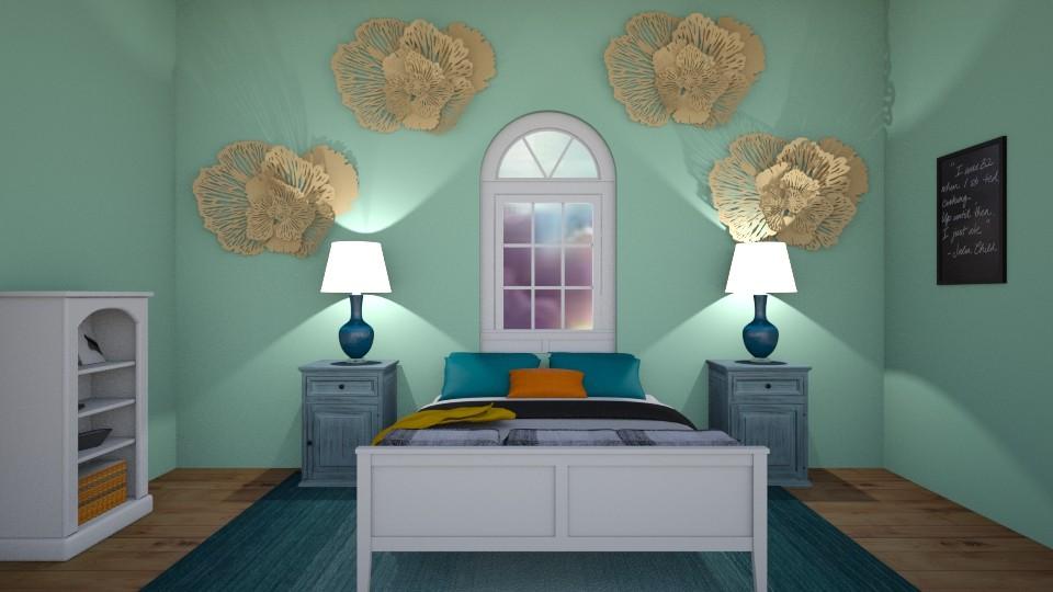 golden teal hotel room - Global - Bedroom  - by aschaper