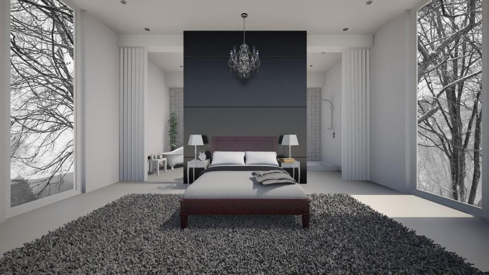 Bed and bathroom - Glamour - Bedroom - by Keliann