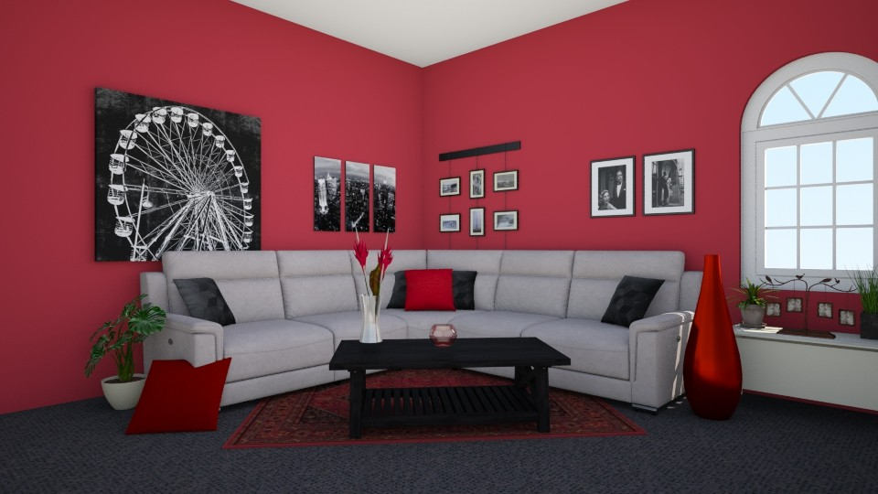 Red Black and White - Living room - by Lori Hallman Douglas