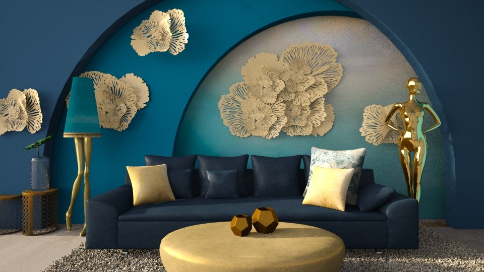 Turquoise and Gold 2 - Living room - by CatsFurLife