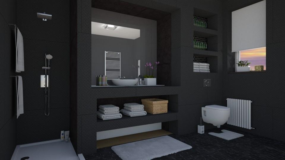 Dark bathroom - Bathroom - by jarkaD