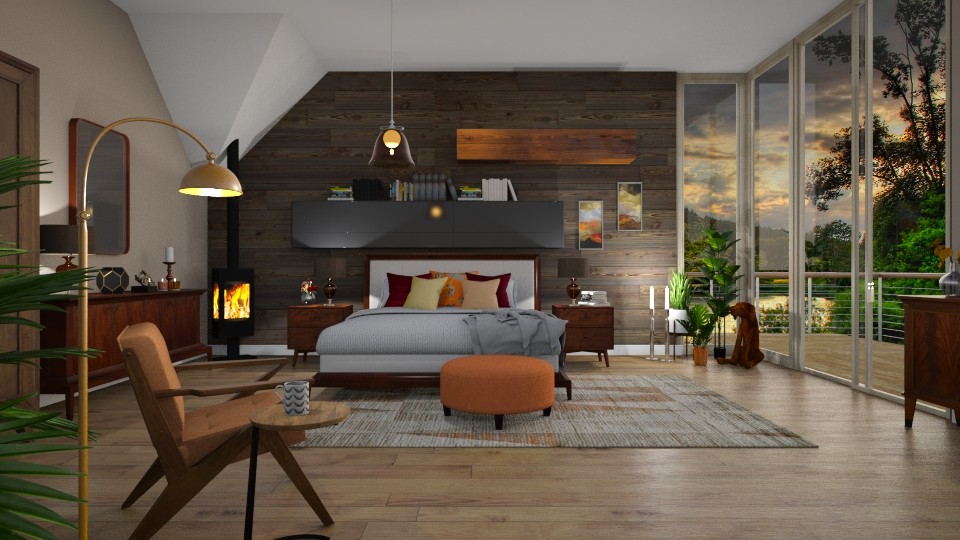 M Century Modern Bedroom - Rustic - Bedroom - by janip