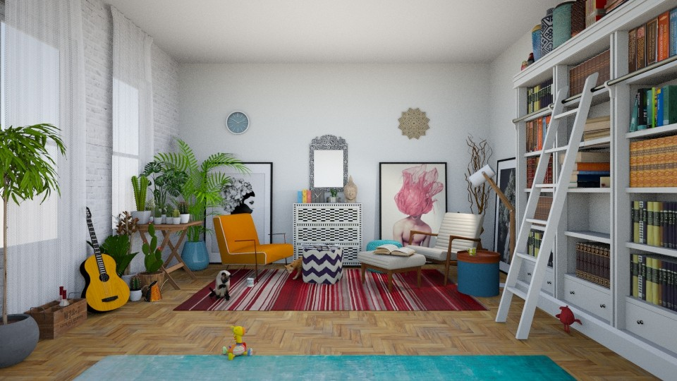 Boho living room and library - Living room - by RHD