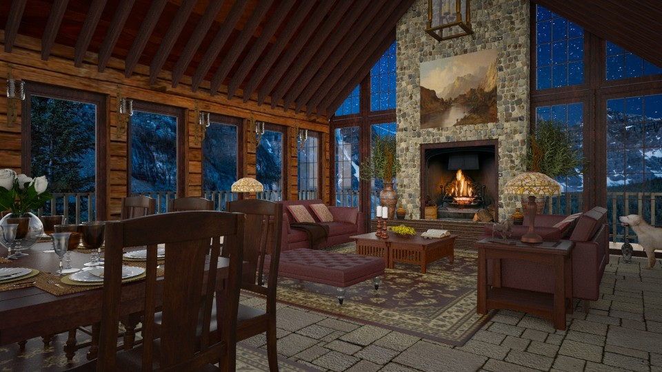 Design 254 Canadian Rockies Evening - Living room - by Daisy320