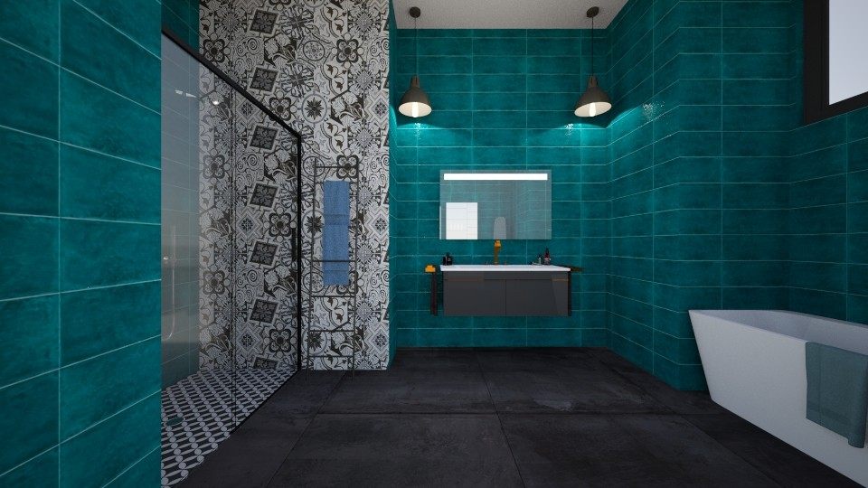 turquoise bathroom - by tigerlily_bel