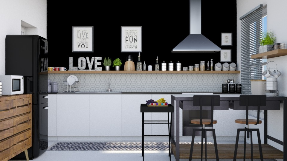 Black wall - Kitchen - by Lizzy0715