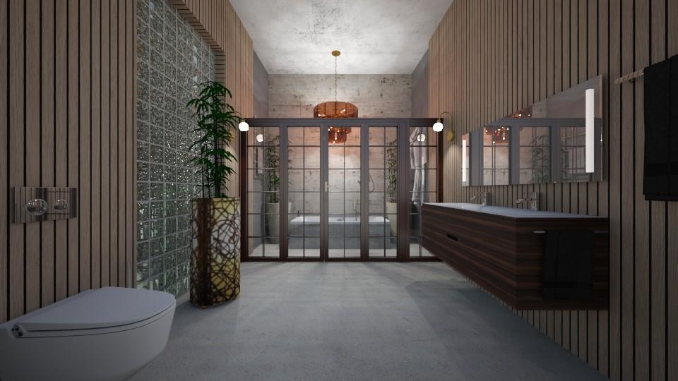 BathRoom_Glass_Concrete_Stripes_ - Modern - Bathroom - by Nikos Tsokos