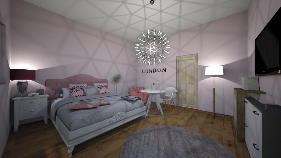 pink white room - Bedroom - by tervezoke