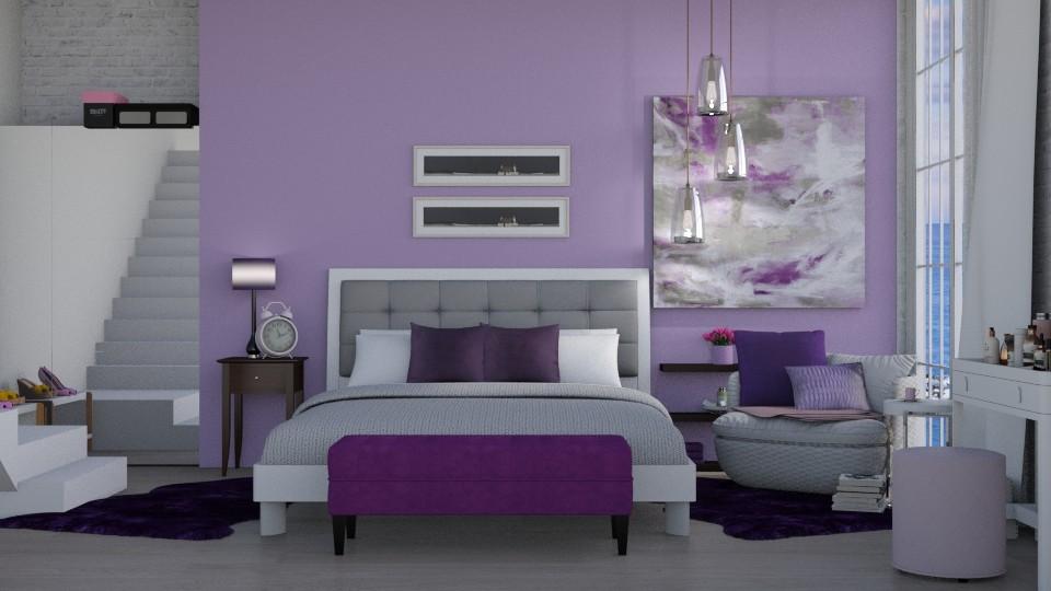 Purple Room - Bedroom - by Ebru Tekneci