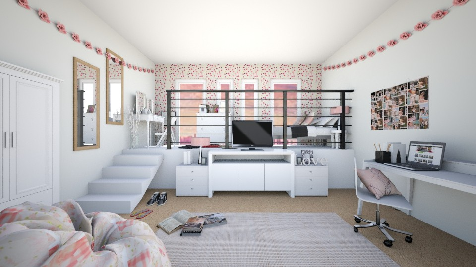 Cute Pink Loft Bedroom - by KS81boff