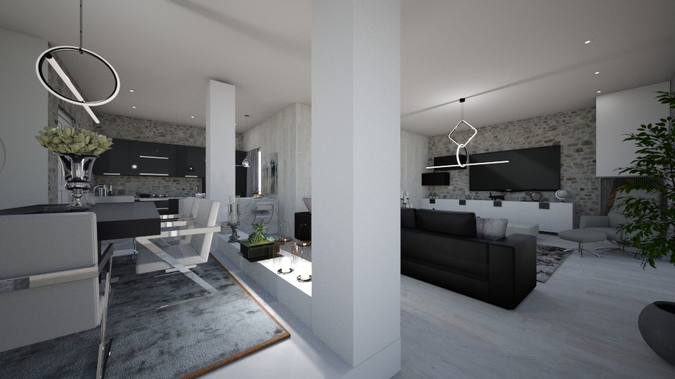White and black - Living room - by Vasiliki Stagkidou