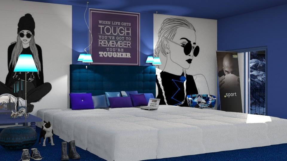Big Bold And Blue - Modern - Bedroom - by InteriorDesigner111