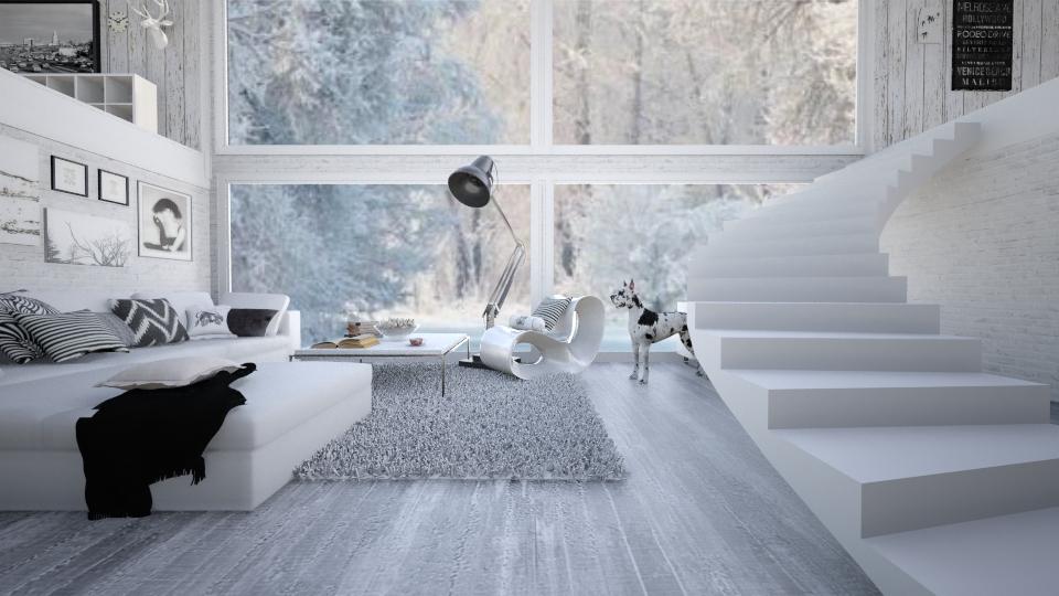 BlackAndWhite Living Room - by GosiaT