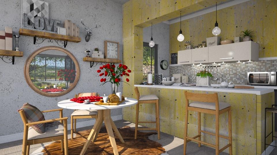pequena sala de jantar - Rustic - Dining room - by Brubs Schmitt