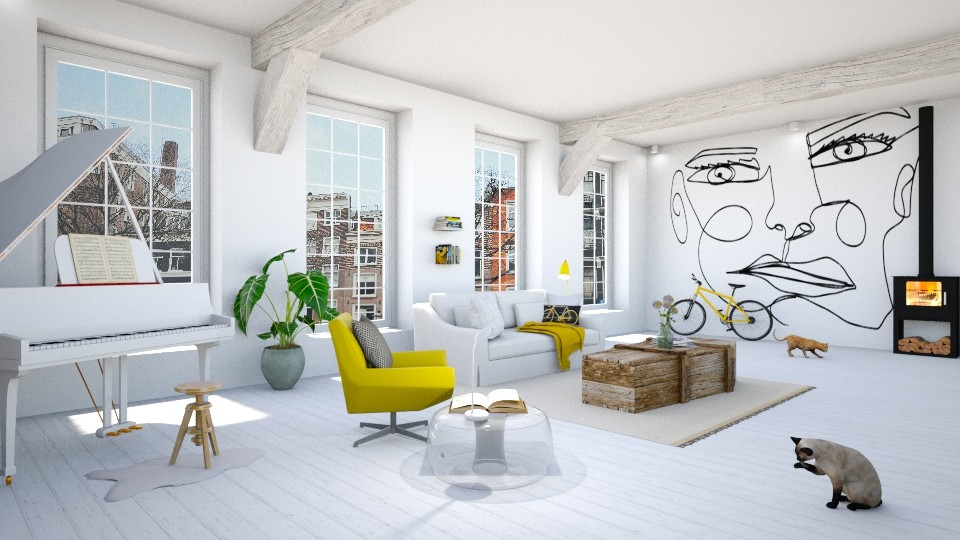 white with a touch of yellow - Modern - Living room - by maudberg01