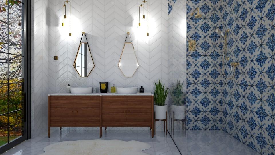 mid century modern bath - Bathroom  - by ccassidyyevvanns