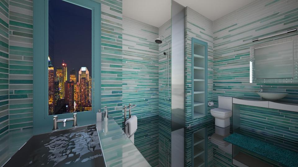ombre - Bathroom  - by cyndyrelly