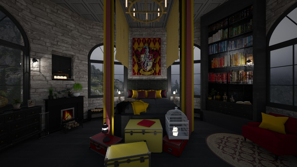 Modern Gryffindor Room - Bedroom  - by ginamelia22